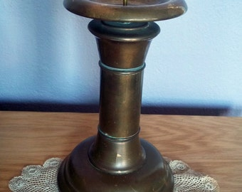 Antique Huge Brass Pillar Candlestick