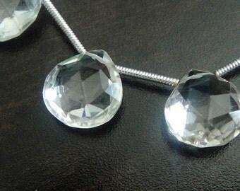 ROCK CRYSTAL Quartz Heart Briolette Beads, 2 MATCHED Pair, 4 pcs, Wholesale Beads, faceted, Brides, 10-12mm