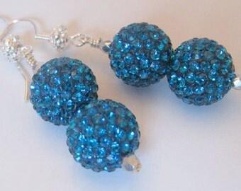 Turquoise Disco Ball Earrings