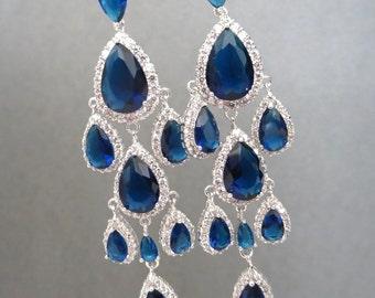 Sapphire Blue Bridal earrings, Bridal chandelier earrings, Wedding earrings, Blue rhinestone earrings, Bridesmaid earrings, Bridal jewelry