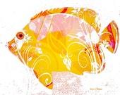 Stylized Fancy Fish Art, Digital Photomontage, Aquatic Lake, Yellow Black or Blue, Nautical Home Decor, Wall Hanging, Giclee Print, 8 x 10