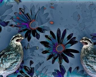 Bird Art, Bobwhite Quail, Blue Red, Woodland Animal, Flowers Floral, Wildlife Home Decor, Wall Hanging Giclee Print 5 x 7 OR 8 x 10