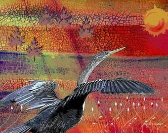 Childrens Folk Art, Cormorant Bird, Waterfowl Fantasy, Purple Red, Yellow Sun, Nursery Wall Hanging, Home Decor, Giclee Print, 8 x 10