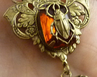 Vintage Egyptian Style Scarab Beetle Fiery Topaz Brass Necklace and Earrings- Free U.S. Shipping