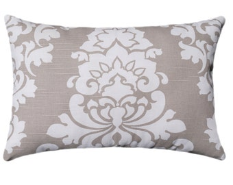 Damask STUFFED Pillow - Berlin Ecru Floral Throw Pillow - Light Brown Accent Pillow - Damask Decorative Pillow - Taupe Pillow - Free Ship