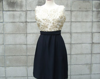 Brocade Dress 1960s White Gold and Black party dress