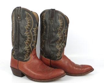 Cowboy Boots Vintage 1980s  Leather Two tone Brown Dan Post Men's size 12