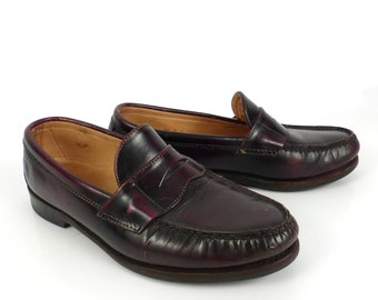 Frye Penny Loafers Vintage 1980s Shoes Burgundy Brown Leather men's size 7 1/2