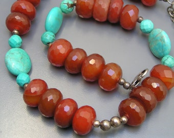 Estate Sign BARSE Necklace Sterling Silver Carnelian Turquoise Beaded  115 grms Jewelry
