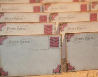 50 - Wedding Place Cards - Vintage Paris Post Cards Wedding Placecards - Escort Cards - Tented Table Place Cards - Shabby Romantic Style