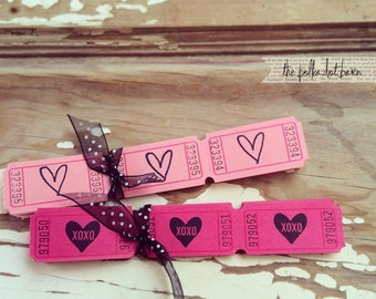 heart outline pink carnival tickets
