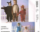 Toddler Dog, Cat, Devil, Bunny Rabbit, Bear and Bat Halloween Costume Sewing Pattern McCalls 3884 Child size XS  XSmall 1, 2