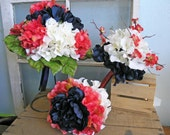 Reserved Coral Navy White Wedding Flowers Nautical Bridal Bouquet Set