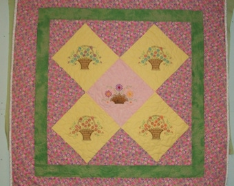 """Beautiful Flower Baskets On Point Embroidered Finished Baby Quilt 41.5"""" X 41.5"""""""