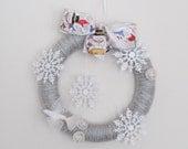 Winter Wreath, Yarn Wreath, Snowflakes and White Dove Wreath