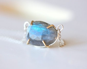 Labradorite Rose Cut Gemstone Necklace in 14k Gold and Sterling Silver prong set gemstone in recycled metal