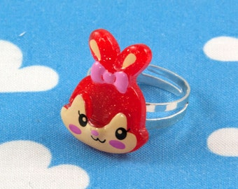 Kawaii Bunny Rabbit Ring - Red