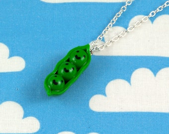 Peapod Necklace Kawaii Polymer Clay Charm