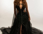 SALE Dark Light Maleficent Sequin Gown Size Small WAS 1400