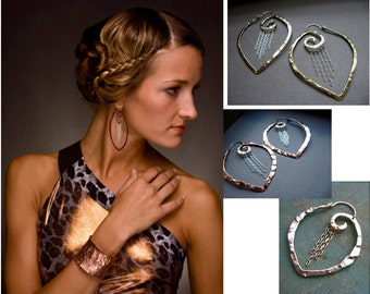 XL-Sm Chain Point Swirl Hoops in Copper, Bronze or Sterling