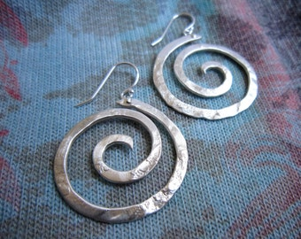 Lg - XS Hanging Nautical Spiral Hanging Swirl Hoop Earrings in Copper or Bronze