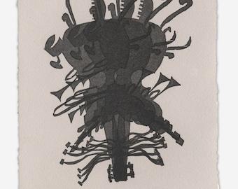 Instrumentality 011 - Original Linocut Monoprint - Matted