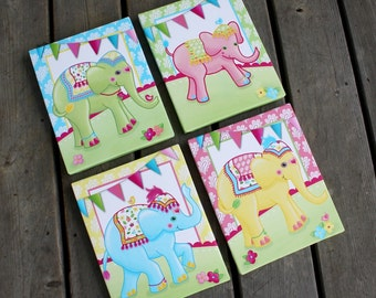 Set of 4 Batik Elephant Carnival Bedroom Stretched Canvases Kids Playroom Baby Nursery CANVAS Bedroom Wall Art 4CS028
