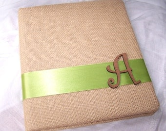 Wedding MEMORY BOOK,  Wedding keepsake memory album, Rustic, Burlap, Beige, Tan and Green, Custom Colors