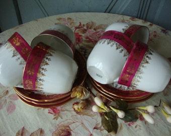 Six Vintage French Limoges Porcelain Cups & Saucers / Vintage Dining / Romantic Floral Decoration / Paris Apartment Chic / French China