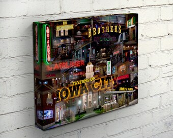 Taverns of Iowa City Canvas Wrap - Iowa City, Iowa