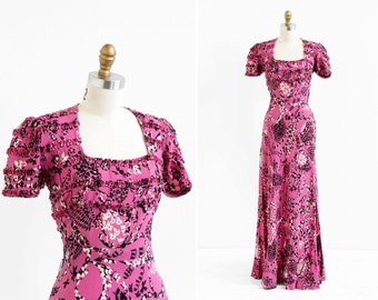 vintage 1930s dress / 30s evening gown / Pink and Black Floral Novelty Print Bias Cut Evening Gown