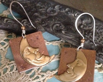 Mixed metal copper and brass, sterling silver ear wire crescent laughing moon earrings