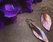 Abalone Shell Summer Earrings, Mother of Pearl, Beach, Boho, Mermaid, Pink, Peach, Irridescent, Glowing,