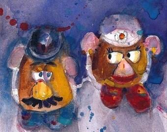 Mr  & Mrs Potato Head Art Print -  from Original Watercolor- Image Size - 6.5  x 6.5