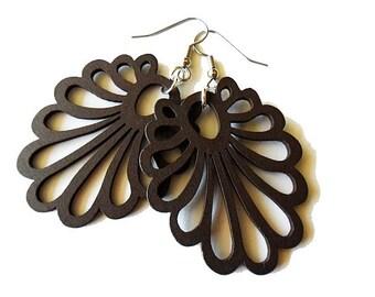 Dark Brown Fan Wooden Earrings