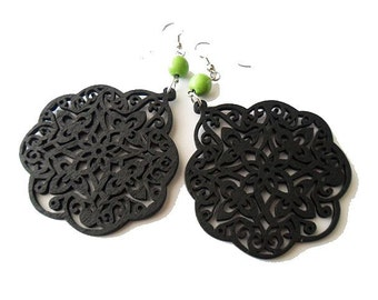 Large Black Moroccan Style Wooden Filigree Earrings with Apple Green Stone Beads, boho, gypsy