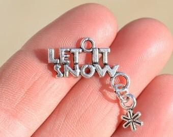 """BULK 20  Silver """"Let it Snow"""" Charms SC3375"""