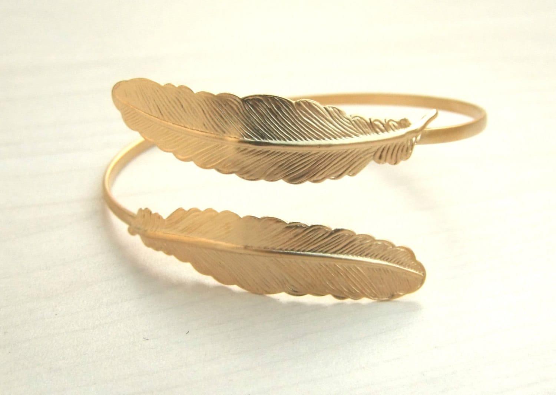 Gold Leaf Bracelet Feather Bracelet Bridal Bangle