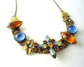 Orange, Hyacinth,  Blue, Crystal, Necklace, Flower Necklace, Unique Necklace, Rhinestones, Boho, Hippie, Eclectic