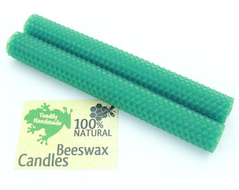 Hand-rolled Beeswax Honeycomb Tapers in Green  Available in 6 Heights