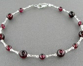 Garnet Anklet with Sterling Silver Spacers - Garnet Ankle Bracelet in Sizes Small to Large - Small to Plus Size Garnet Anklet, 9-14 Inches