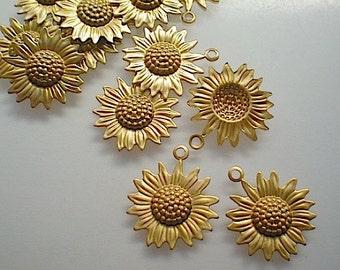 12 small brass sunflower charms