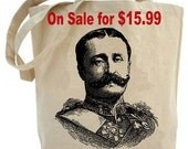 Eco friendly ... Military Mustache Man... Canvas tote bag