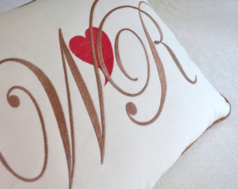 valentine day embroidered pillow heart personalized linen white blue black paprika
