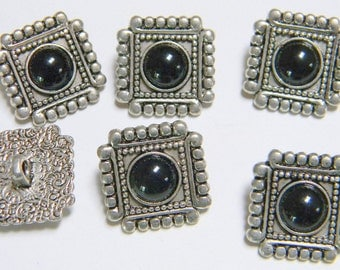 Vintage Buttons - Southwestern Silver Metal with Black Cabochon Centers - Excellent Condition Set of 6 - Square - Beaded