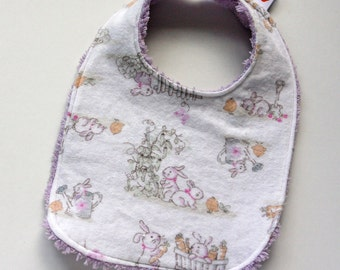 Easter Bunnies Baby Bib - Multi Color - Flannel and Lilac Chenille