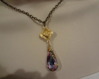 Clover Necklace, Swarovski Crystal Pendant ,Clover Pendant,Brass Clover Necklace Quadrafoil