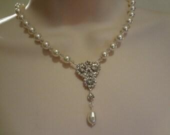 Wedding Swarovski Pearl Bridal Pearl necklace, Vintage Style Pearl Rhinestone Necklace -  Julia