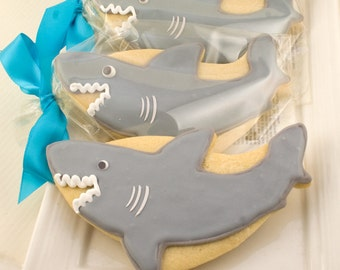 Shark Cookies, Sea Party - 12 Decorated Sugar Cookie Favors