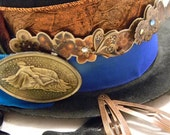 Bronze Steampunk Hat with Gears, Feathers, Trinkets, and a Golden Lady